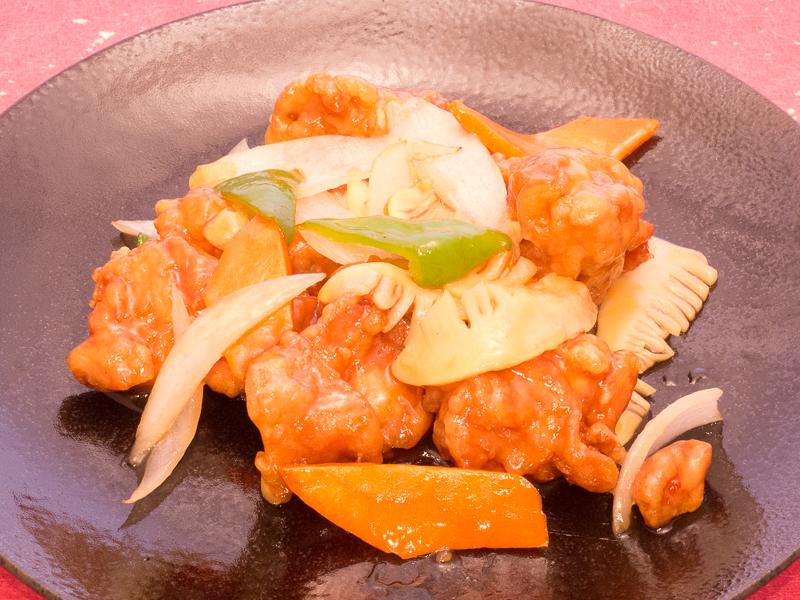 桃仙人若鶏の甘酢野菜あんかけ