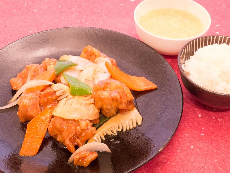 桃仙人若鶏唐揚げあんかけ定食